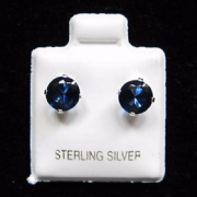 6mm Cubic Zirconia Blue Sapphire Birthstone Silver Stud Earrings
